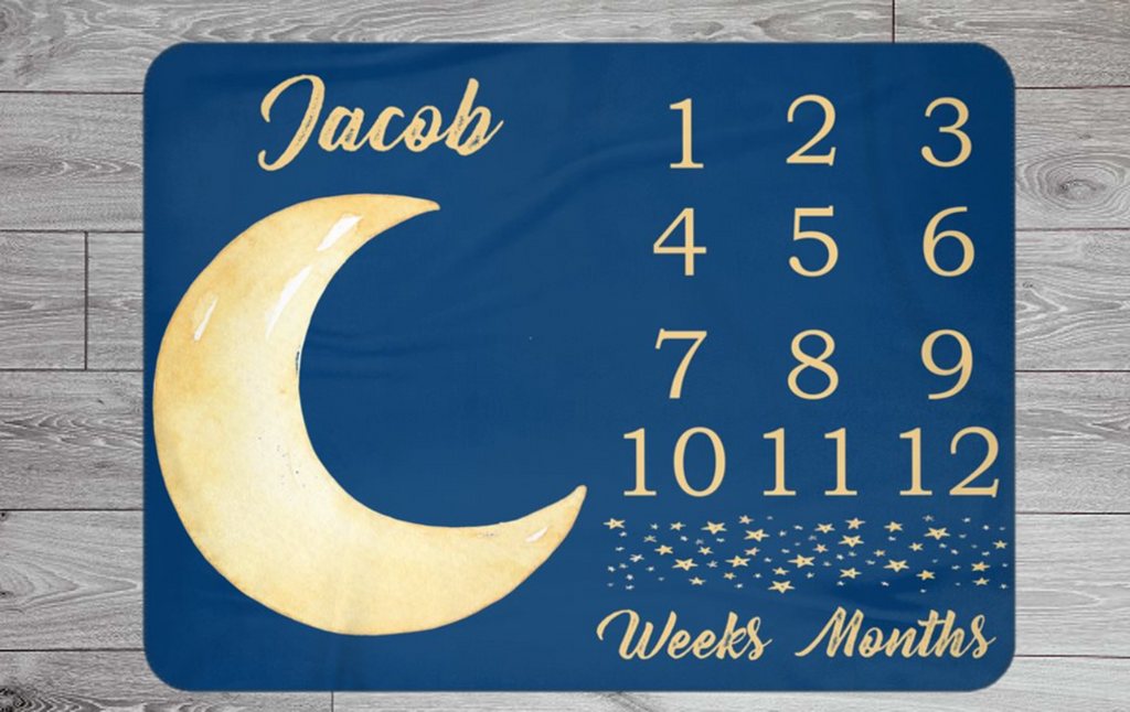 Moon / Sky Themed Weekly & Monthly Baby Blanket Milestone - Personalised