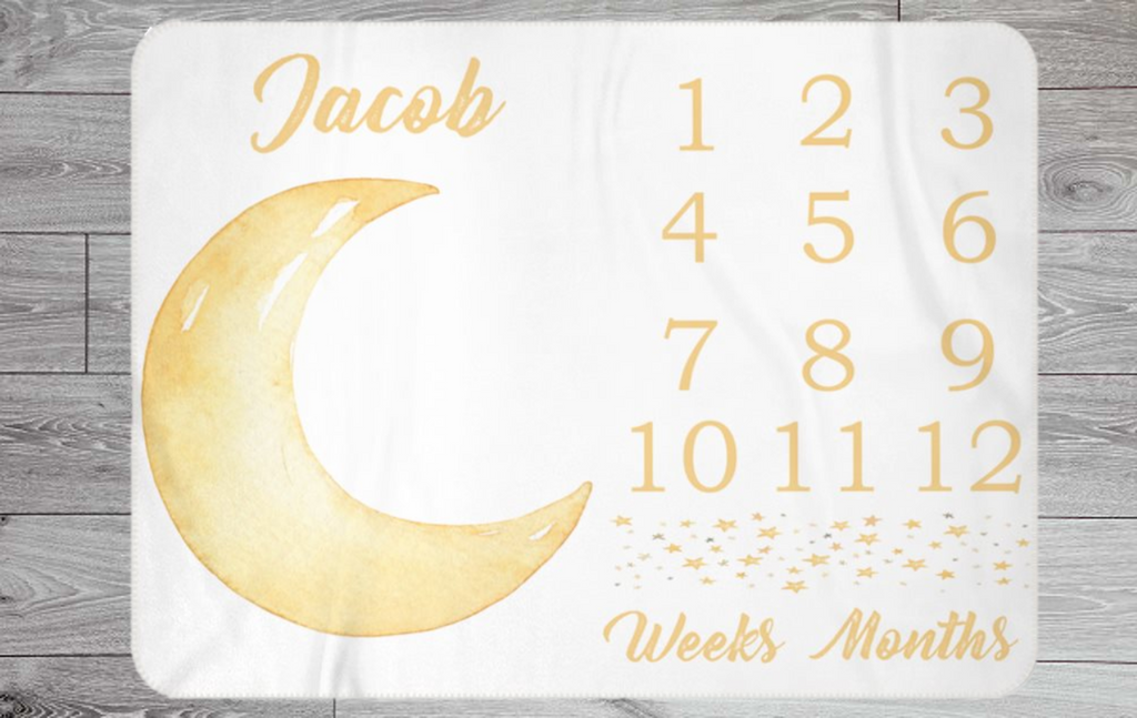 Moon / Star Themed Weekly & Monthly Baby Blanket Milestone - Custom Name