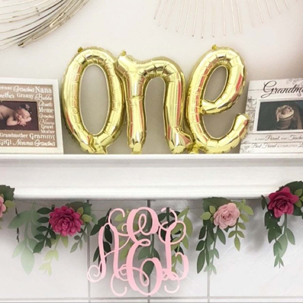 One Gold Script Balloon