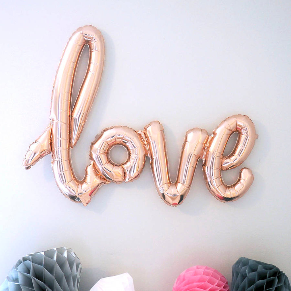Rose Gold Balloon Banner in script writing 'Love' mylar wedding balloons