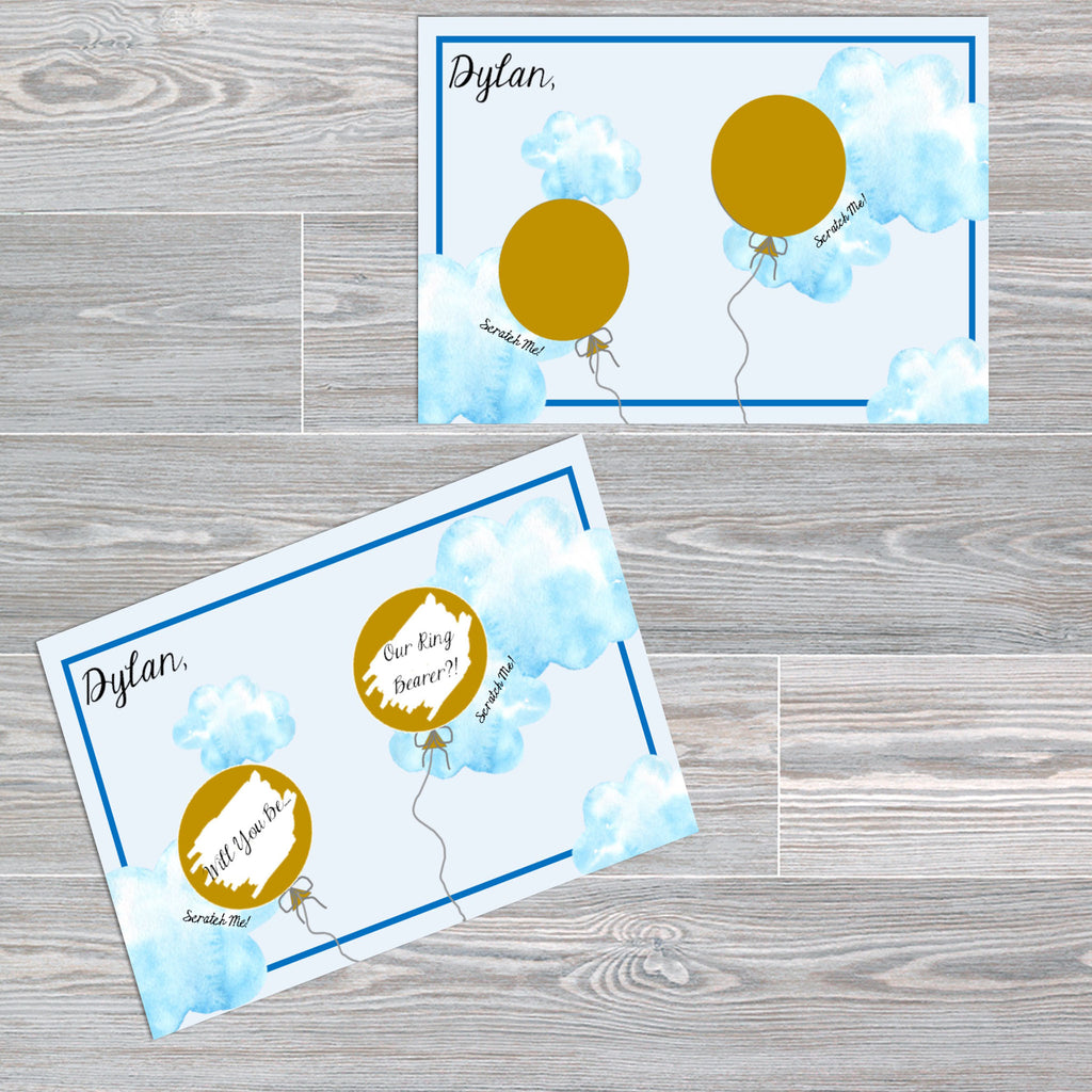 Page Boy / Ring Bearer Proposal Scratch off Cards