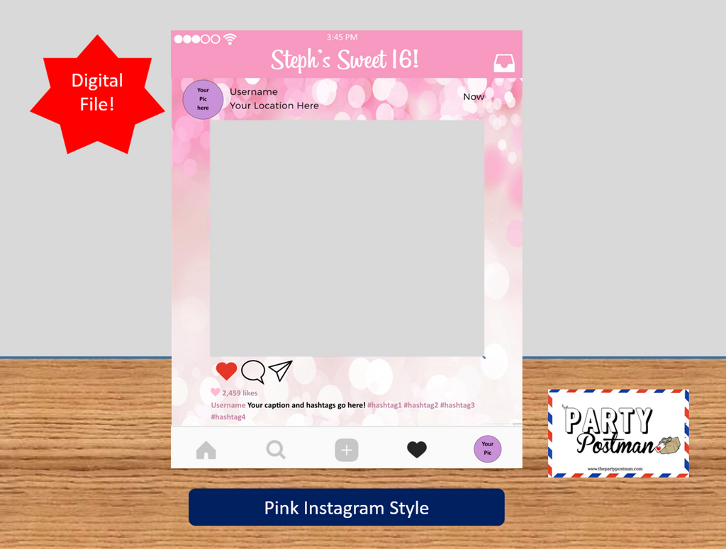 Instagram frame in Pink Photo Booth Prop Instagram Prop (Digital File Only) - The Party Postman