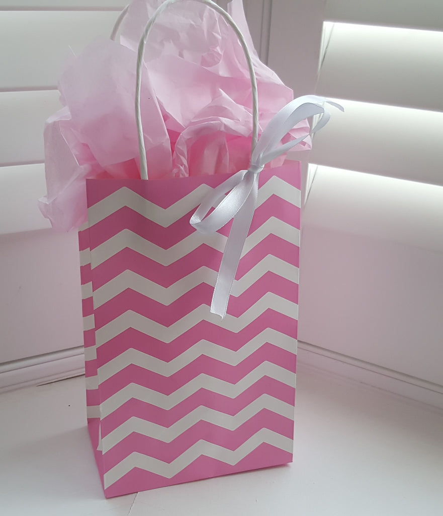 Pink and White Chevron Striped Gift Bags with White Ribbon - The Party Postman