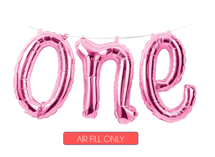 Pink One Script Foil Balloon