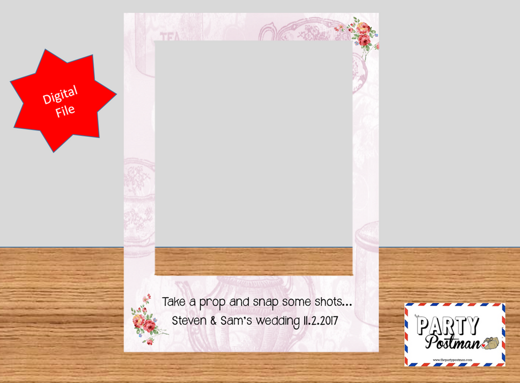 Floral Polaroid Frame Photo Booth Prop with custom wording (Digital File Only)