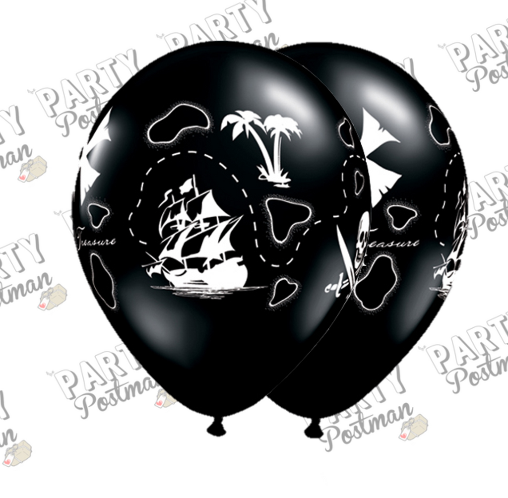 11 inch Black Pirate Balloons - The Party Postman