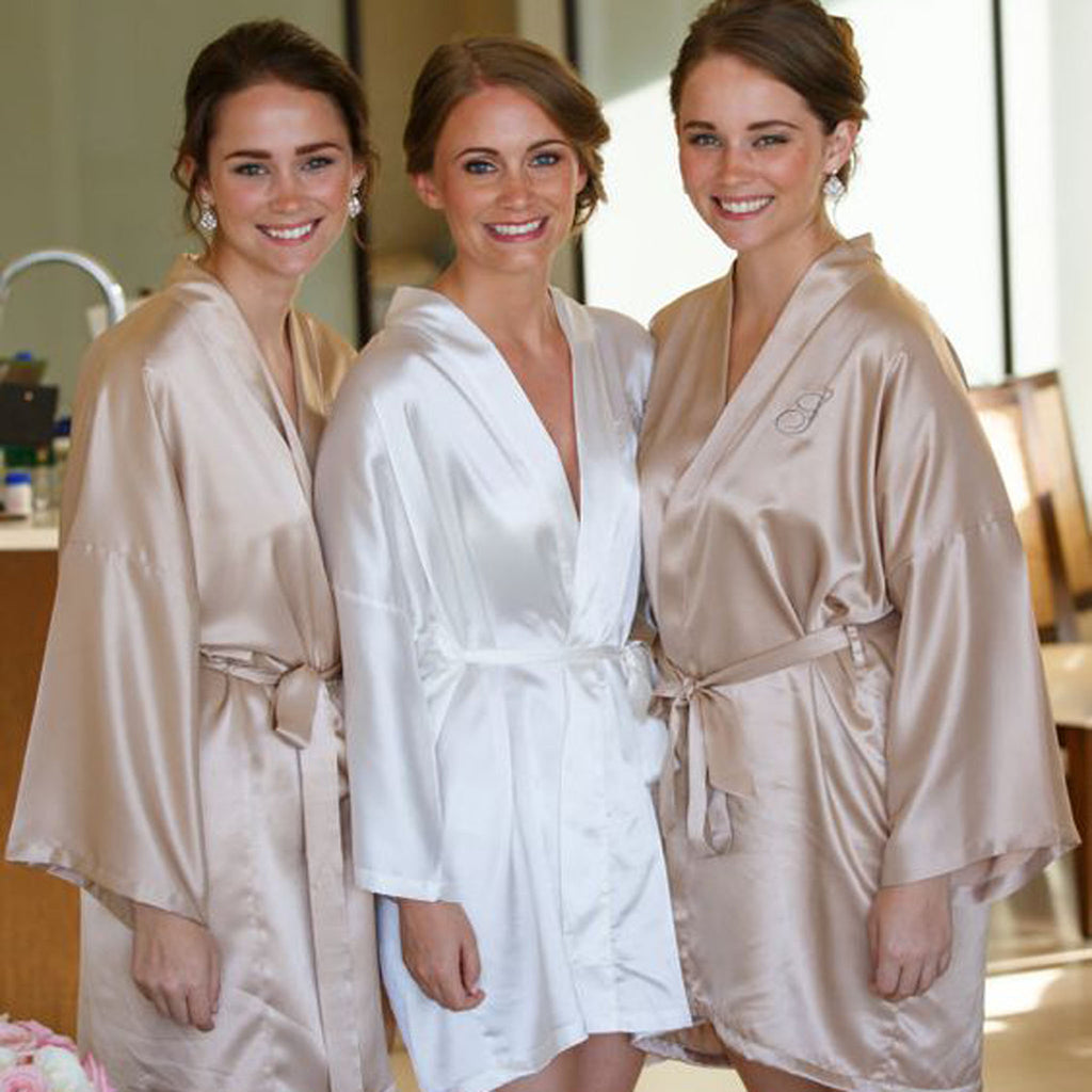 Plain Satin Personalised Bridesmaid / Bridal Robe