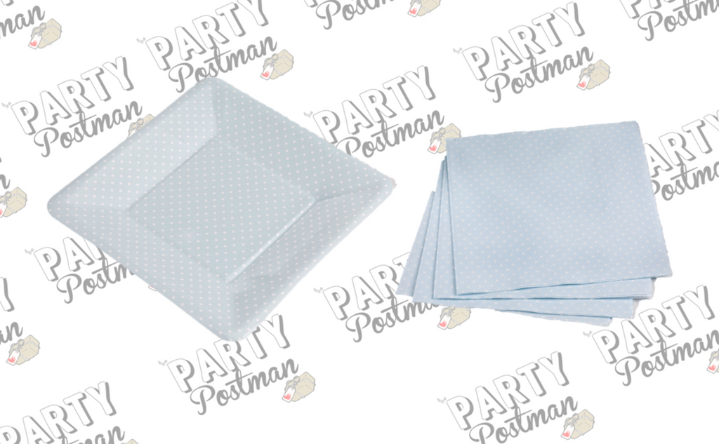 Blue Polka Dot Napkin and Plate Party Set - The Party Postman