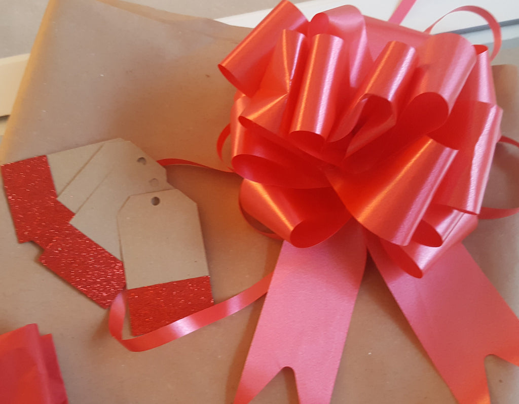 Kraft Wrapping Paper With Red Tags, String and Bow - The Party Postman