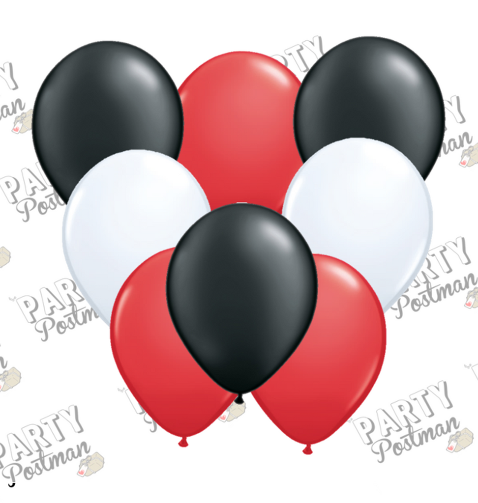 11 inch Black, White and Red Balloons - The Party Postman