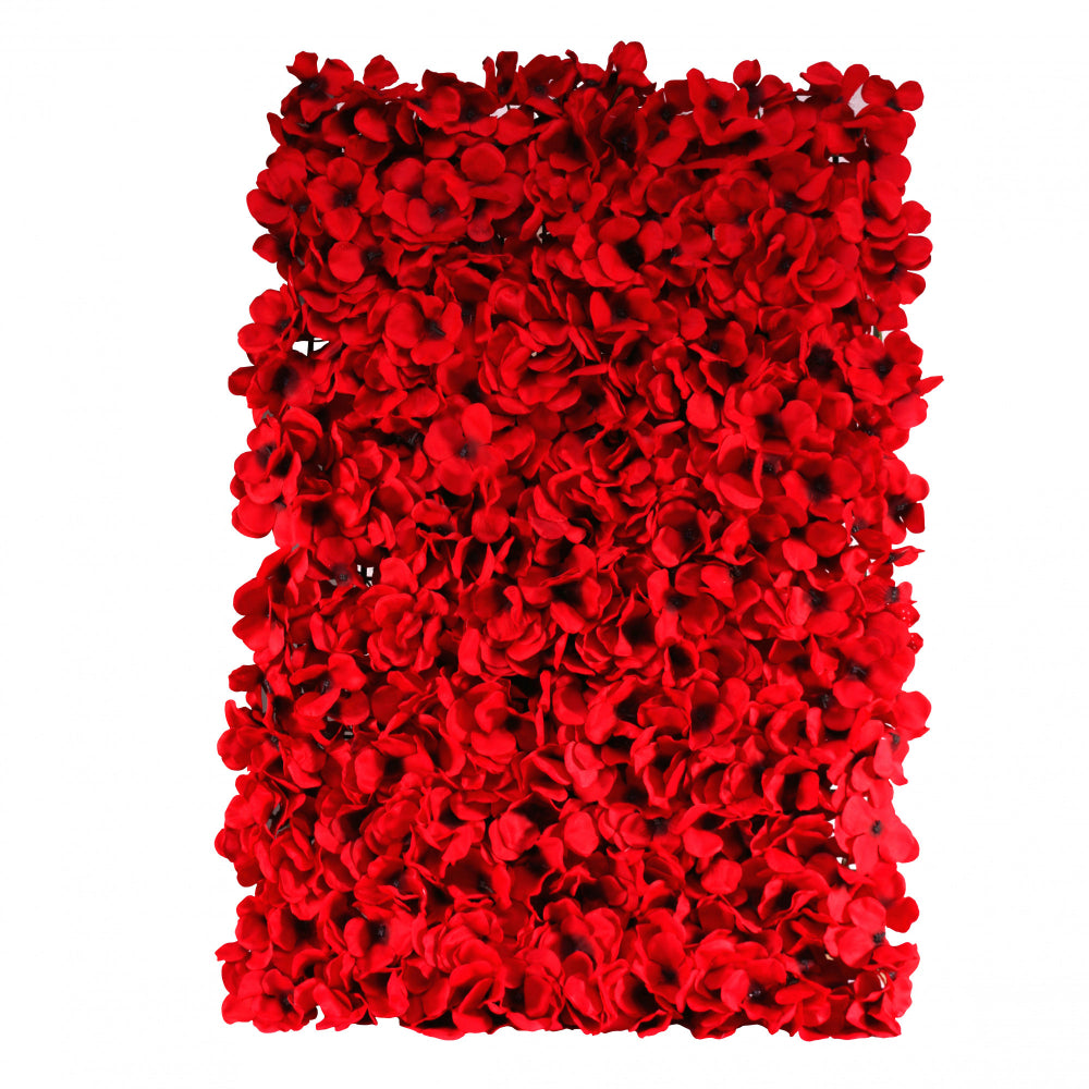 Red Hydrangea Flower Wall Panels