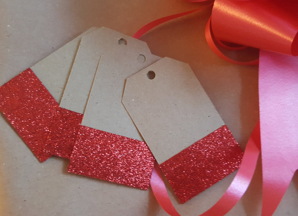 Gift Tags Wedding Label Brown Red Glitter Blank Luggage Kraft+Strings - The Party Postman