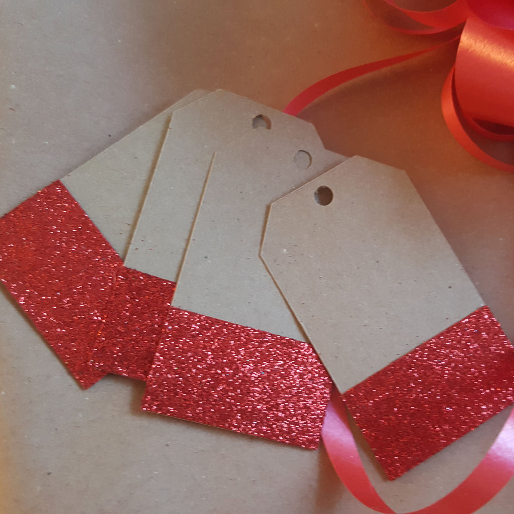 Gift Tags Wedding Label Brown Red Glitter Blank Luggage Kraft+Strings