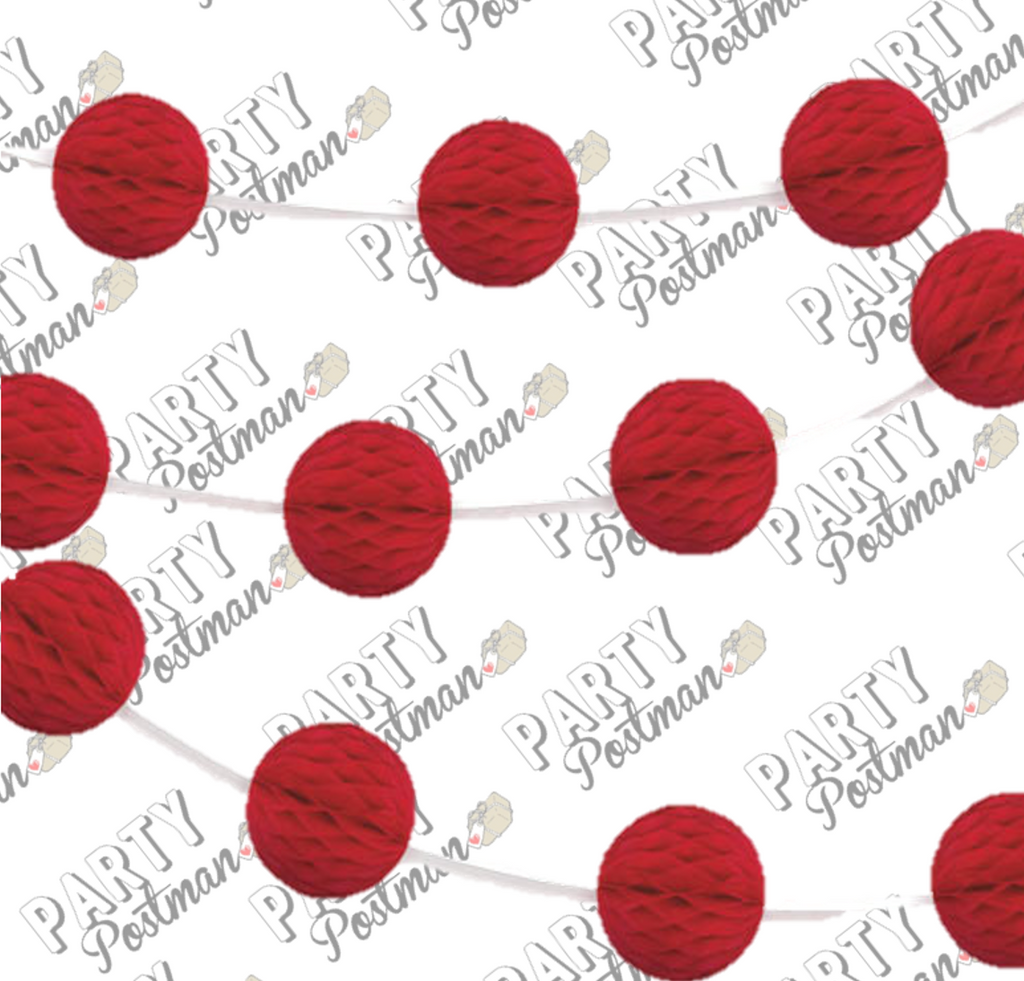 Red Honeycomb Ball Garland - 7FT - The Party Postman