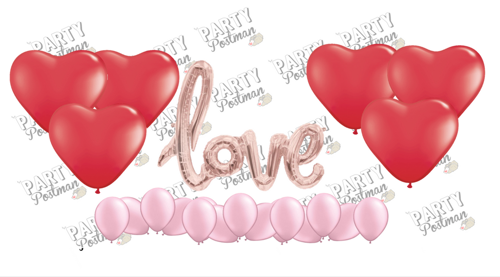 Rose Gold Love Script Balloon Cluster - Rose Gold, Red & Pink - The Party Postman