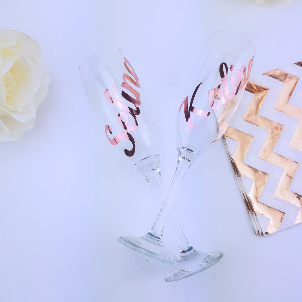 Personalised Rose Gold Champagne Flutes for birthday, christmas or bridesmaid proposal gifts