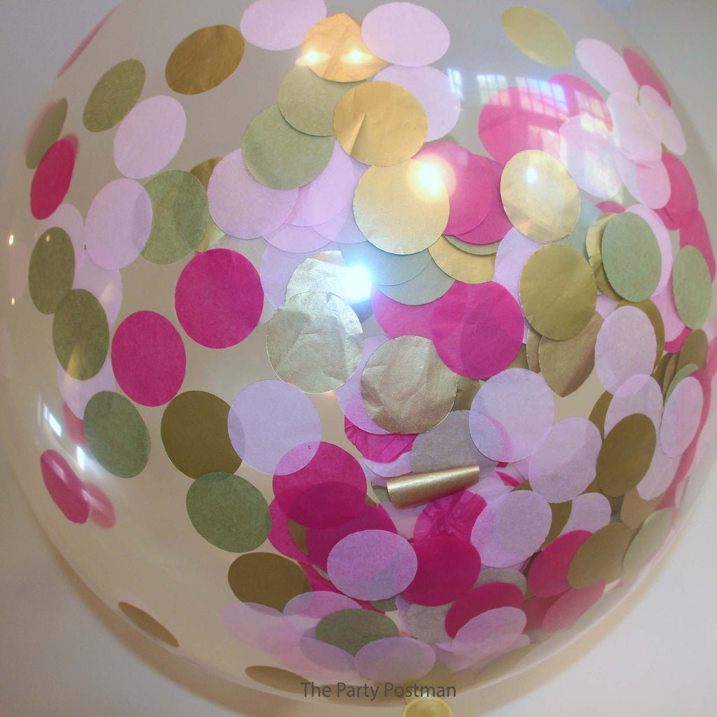 Confetti Filled Giant Round Balloons - Light Pink, Dark Pink & Gold