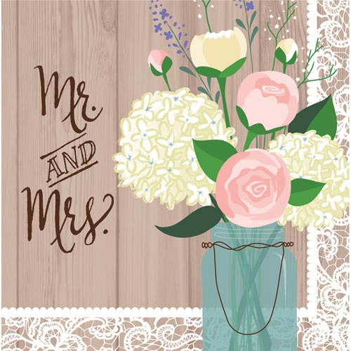 Rustic style Mr and Mrs Wedding Napkins