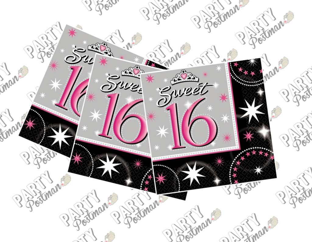 Sweet 16 Paper Napkins - The Party Postman