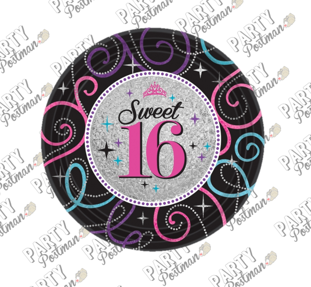 Sweet 16 Paper Plates - The Party Postman