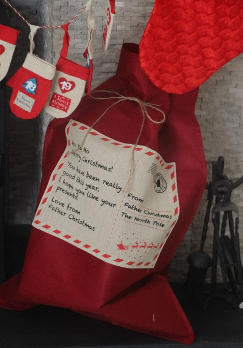 Red Felt Santa Sack for Christmas Presents