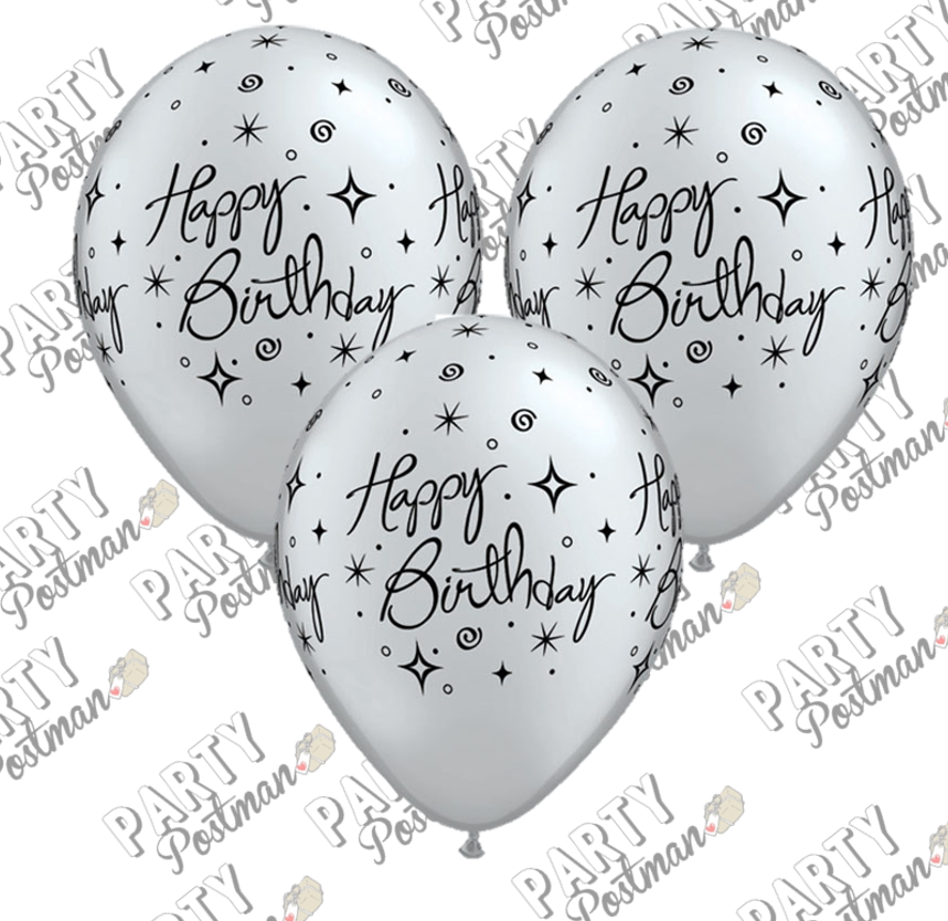 11 inch Silver Birthday Balloons - The Party Postman