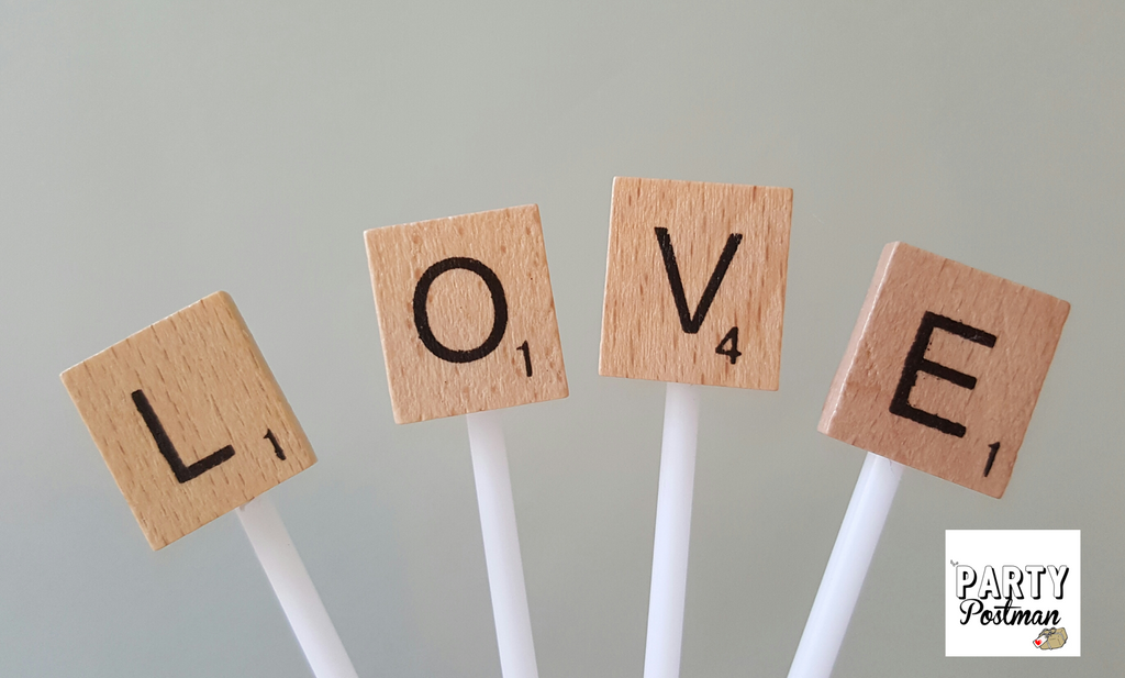 Love Scrabble Letters for Cupcake or Cake toppers