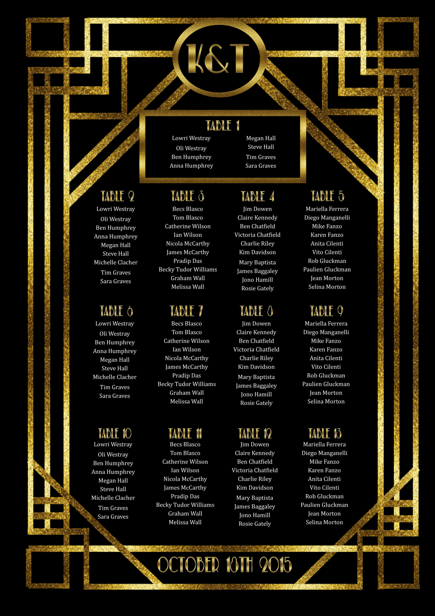 picture about Printable Seating Chart referred to as 1920s Printable Seating Chart for Wedding ceremony inside of the Style and design of Fantastic Gatsby - Electronic Report