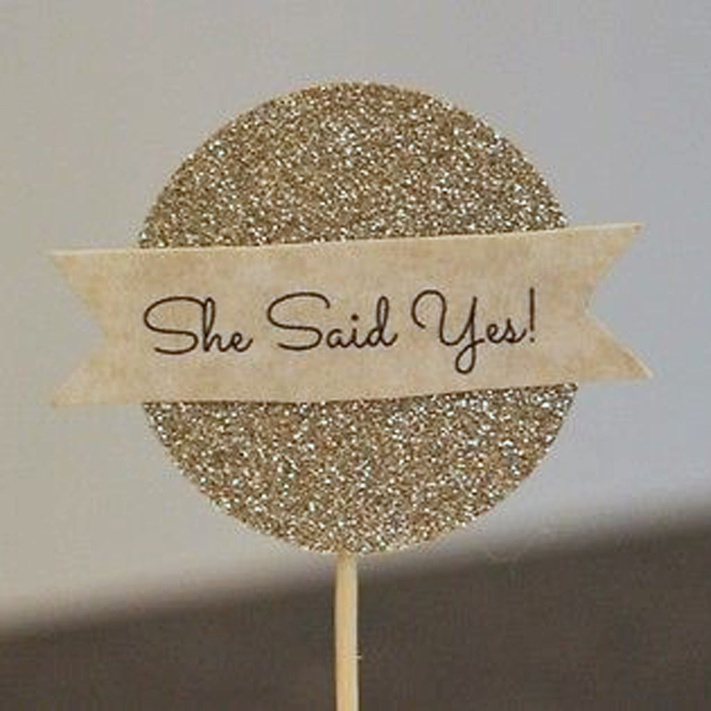 She Said Yes Wedding Engagement Cupcake Toppers bridal shower hen do