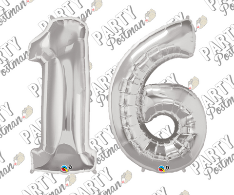 Number 16 Silver Large Foil Number Balloons - The Party Postman