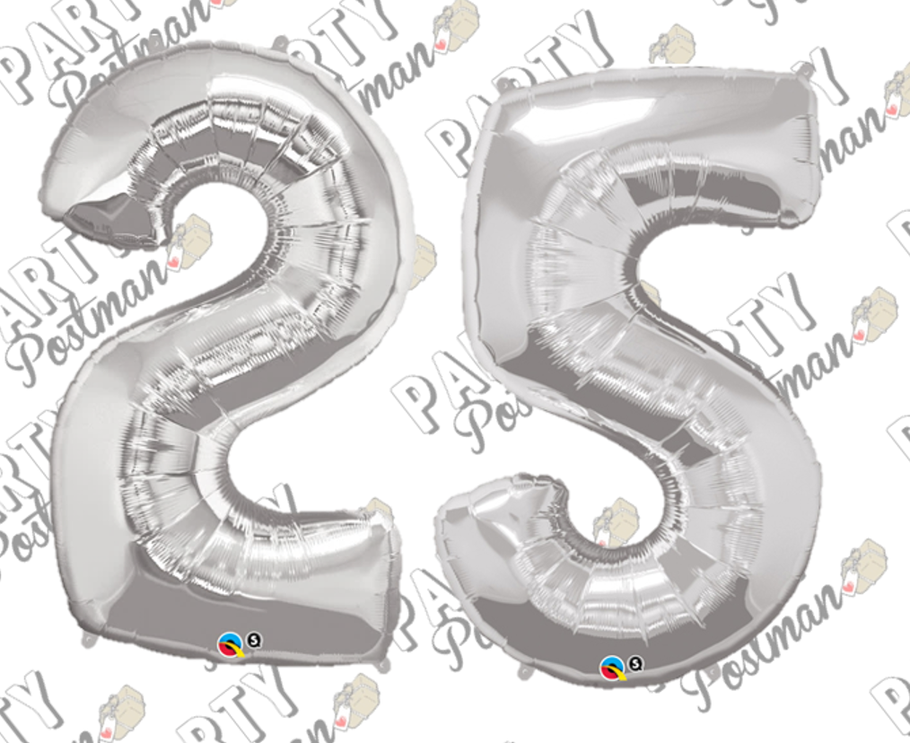 Number 25 Silver Large Foil Number Balloons - The Party Postman