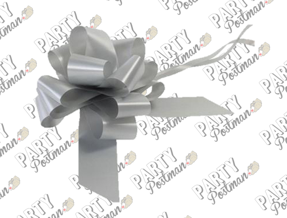 50mm Pull Bow in Silver - The Party Postman
