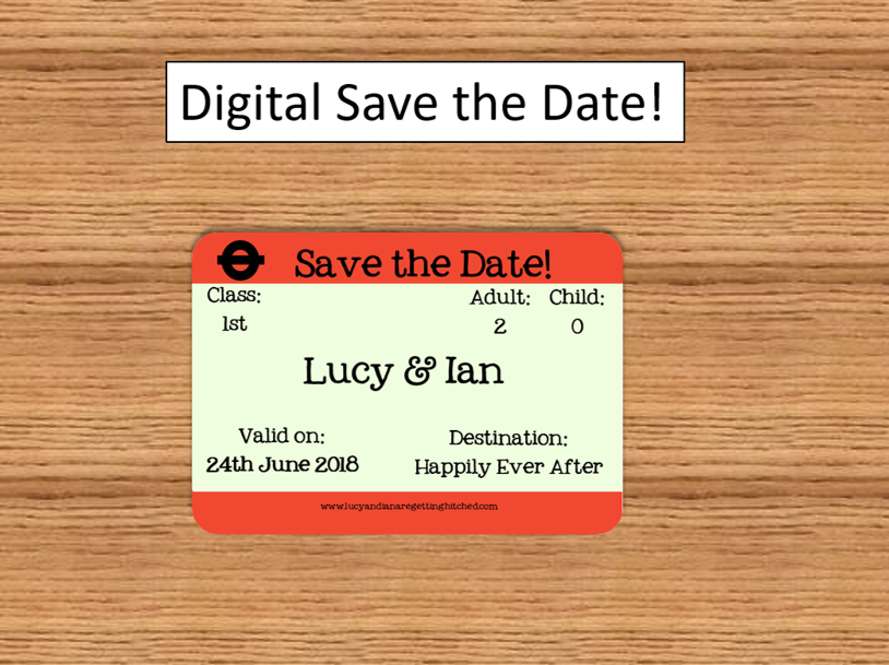 Save the Date - London Train Ticket for UK themed weddings, unique and fun invitations