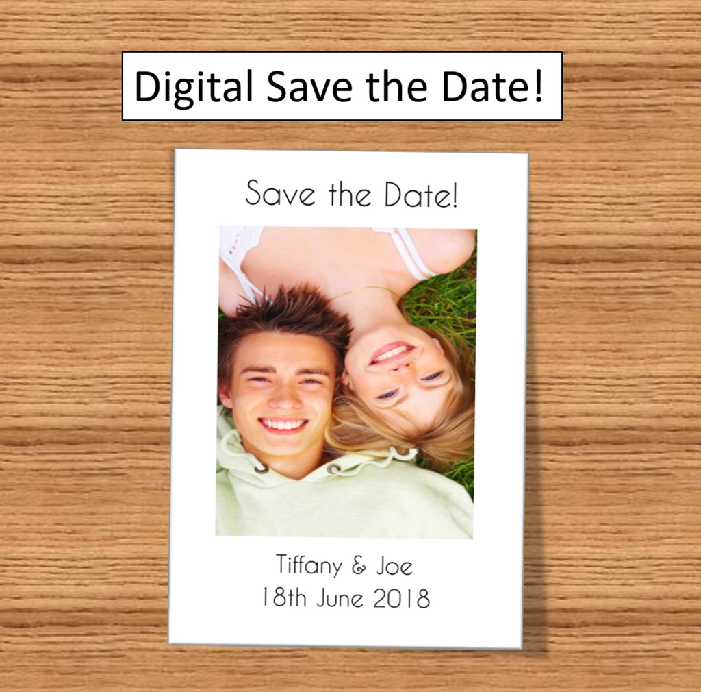 Digital Save The Date - Fun and Unique wedding stationary white picture