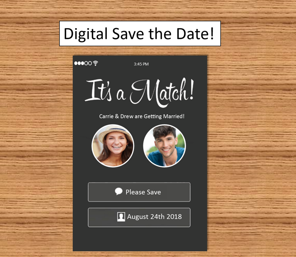 Tinder Style Save The Date - Funny and Unique wedding stationary
