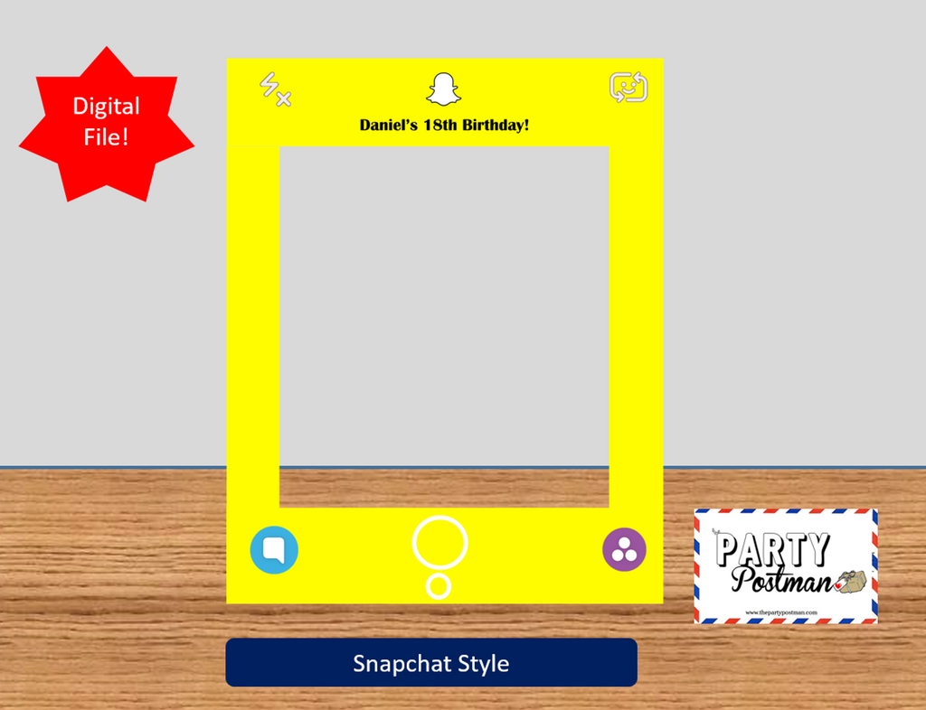 Snapchat Frame with Custom wording Photo Booth Prop (Digital File Only) - The Party Postman