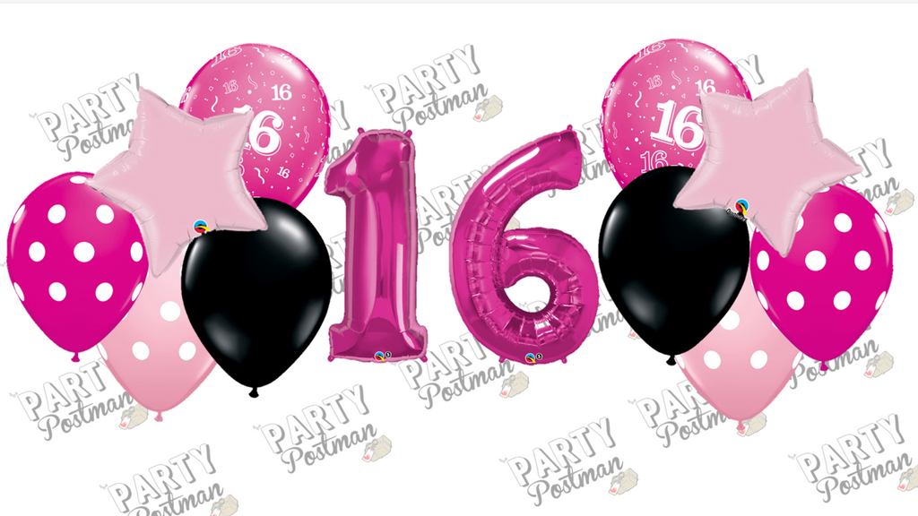 Sweet 16 Balloon Cluster Party Pack - The Party Postman