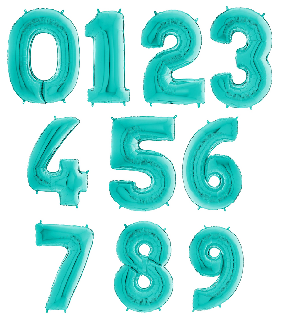 Mint / Teal Large Foil Number Balloons