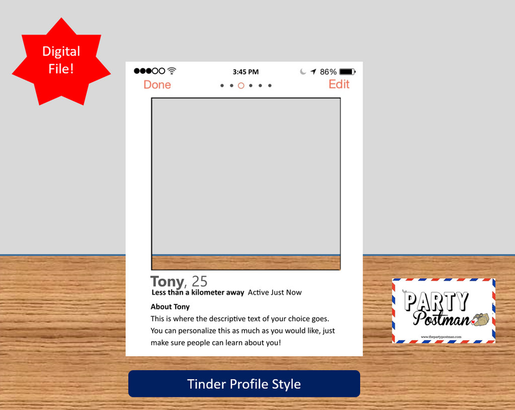 Tinder Custom Frame Photo Booth Prop Funny Prop (Digital File Only) - The Party Postman
