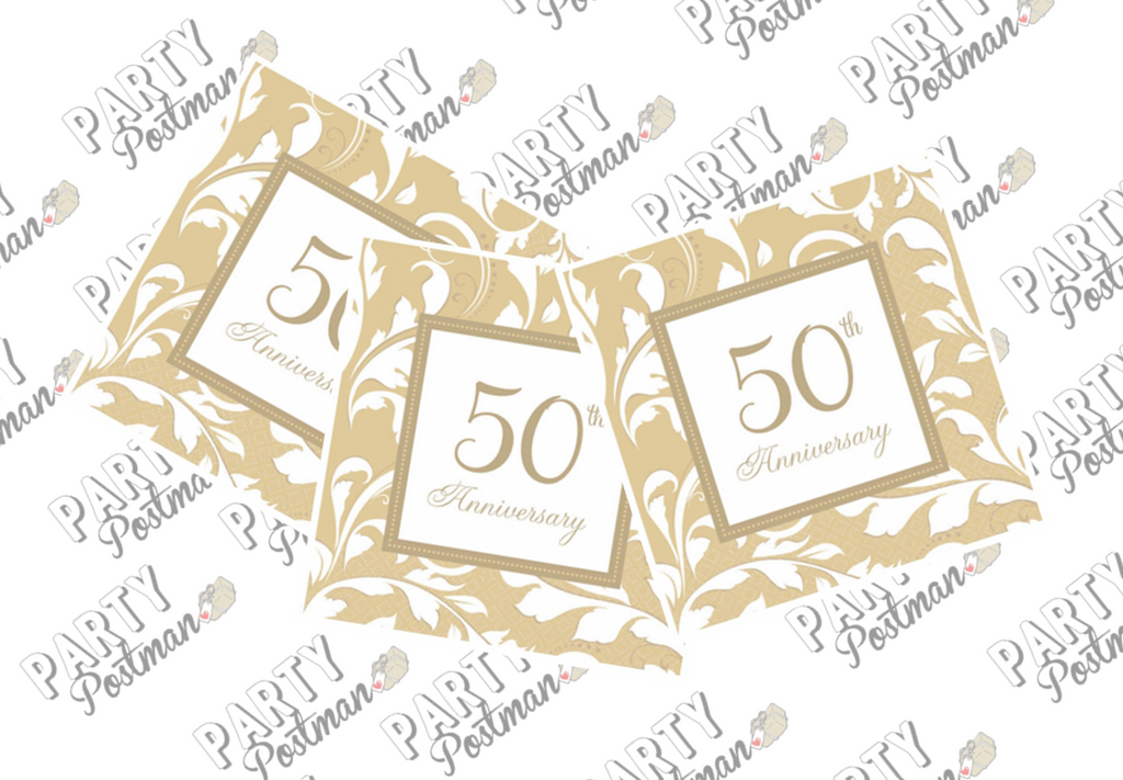 50th Wedding Anniversary Paper Napkins - The Party Postman