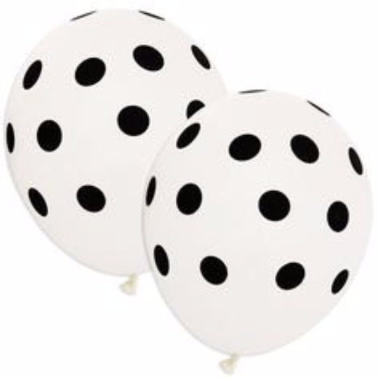 White and Black polka dot party balloon decorations - The Party Postman