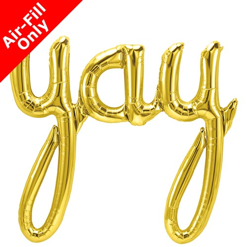 Gold Balloon Banner in script writing 'Yay' balloon