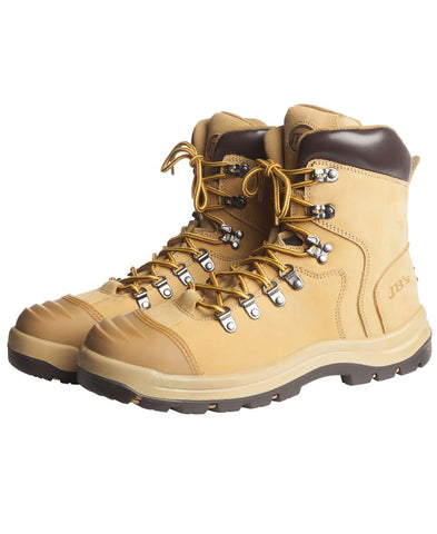 7 Eyelet leather lace up boot, steel toe ON SALE NOW