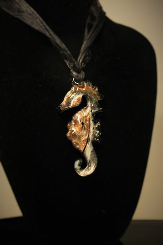 Lampwork Black  Seahorse with gold metallic swirls necklace FREE SHIPPING