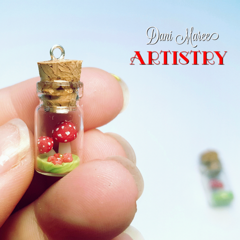 2.5cm Miniature glass vial with mushrooms and flower FREE SHIPPING