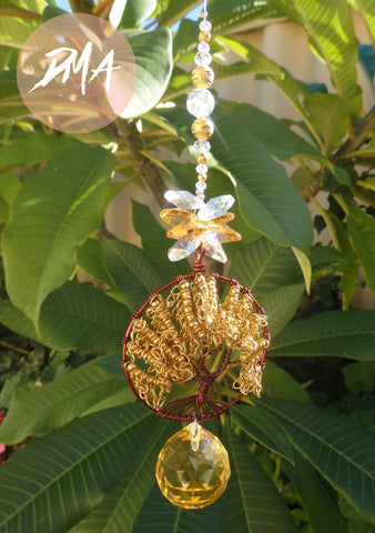 Golden chain Tree of Life Suncatcher FREE SHIPPING