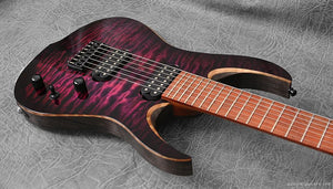 "RAN Guitars Crusher 7 27"". The Purple People Eater. Quilted Maple Over Swamp Ash (Antiqued Black) Bubinga Fretboard."