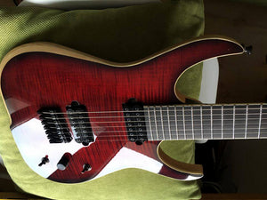 Skervesen: Raptor 7: Flame Maple Crimson Stain over Swamp Ash Body & Ebony Fretboard