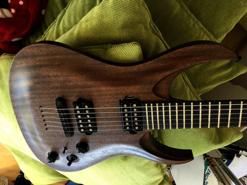 RAN: Custom Crusher 6: Walnut Over Mahogany, Ebony Fretboard, Ovankhol Neck. Killswitch.