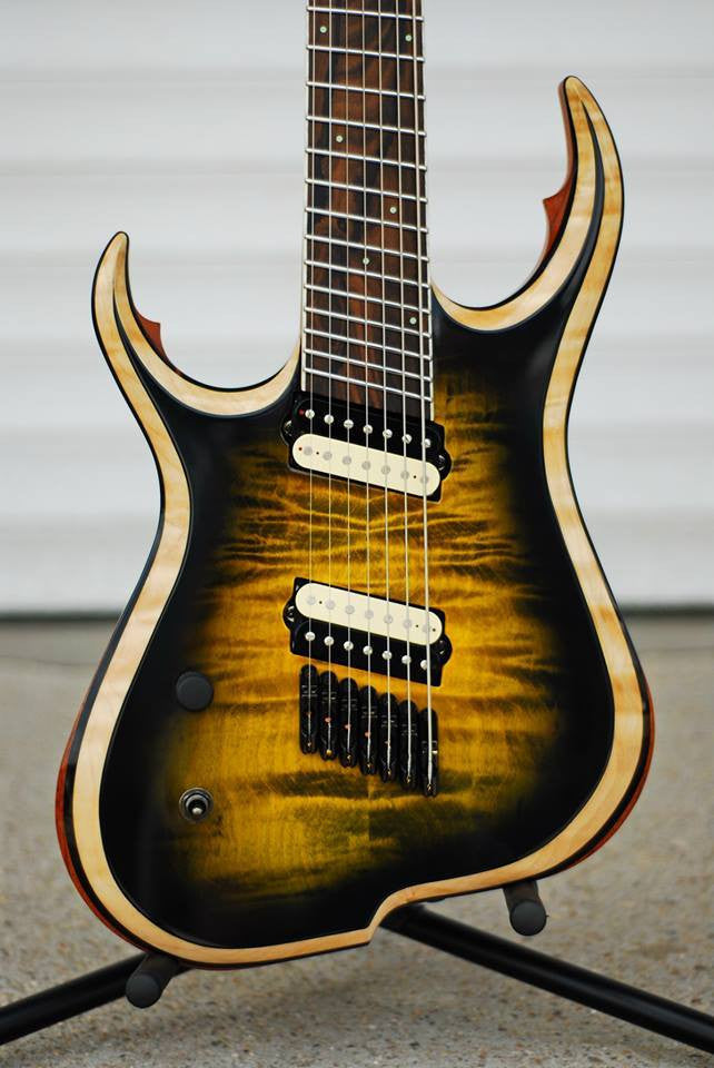 "Skervesen Chiroptera 7: (Left Handed)  25.4 - 27"" Multiscale. Quilted Maple/Ebony/Ebiara"